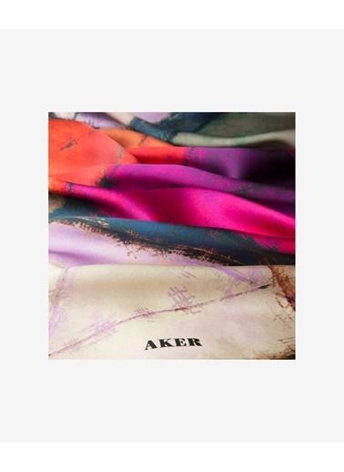 Aker 7487701_323 90 X 90 Ipek Krep Saten Geometrik Desenli Renkli Kadın Eşarp Mavi